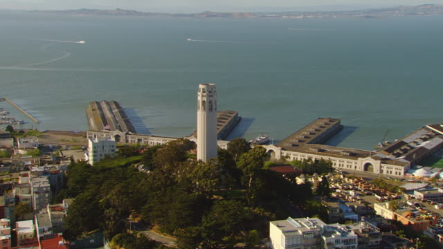 ws ds aerial view of coit tower with harbor / san francisco, california, united states - coit tower stock videos & royalty-free footage
