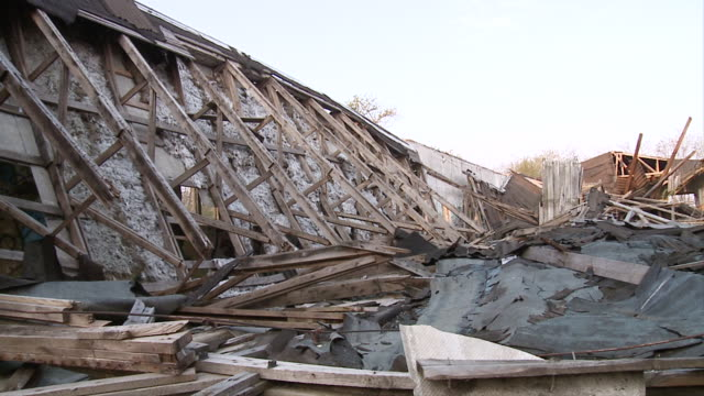 ms pan view of collapsed building / brandenburg, germany   - east germany stock videos and b-roll footage