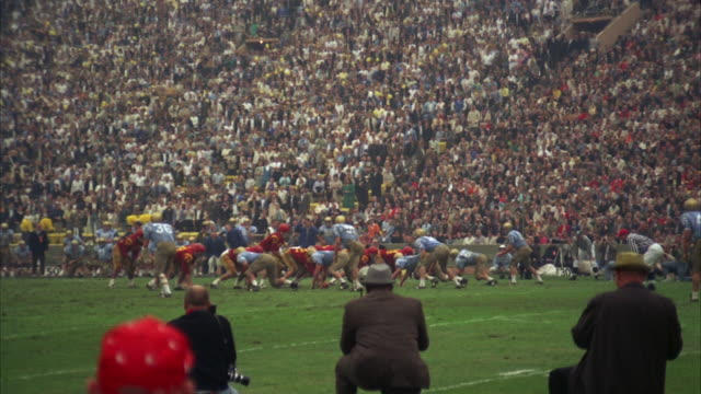 WS View of college football game at University of Southern California stadium / Los Angeles, USA