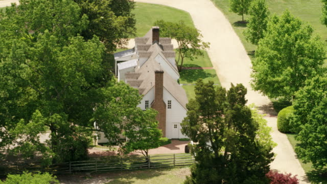 WS AERIAL POV View of colonial buildings / Williamsburg, Virginia, United States