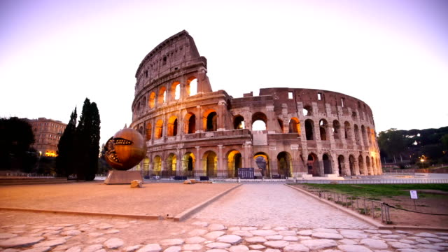 view of colosseum in rome at twilight, italy - amphitheater stock videos & royalty-free footage