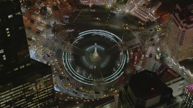 aerial ms view of columbus circle / new york city  - columbus circle stock videos & royalty-free footage