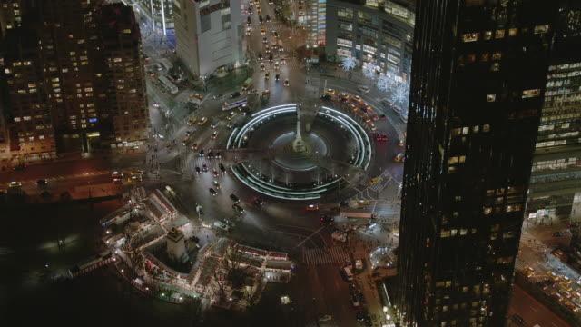 aerial ms zi view of columbus circle / new york city  - columbus circle stock videos & royalty-free footage