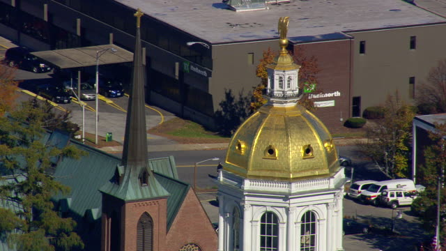 ms aerial zi view of concord town state capitol / new hampshire, united states - new hampshire stock-videos und b-roll-filmmaterial
