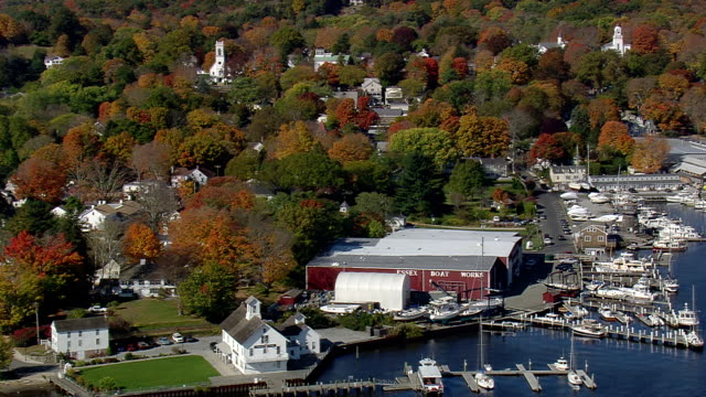 ms aerial view of connecticut river museum at essex / connecticut, united states - connecticut stock videos & royalty-free footage