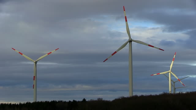 ws view of construction of windturbine / kirf, rhineland palatinate, germany - five objects stock videos & royalty-free footage