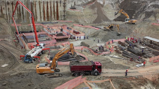 view of construction site - mining natural resources stock videos and b-roll footage