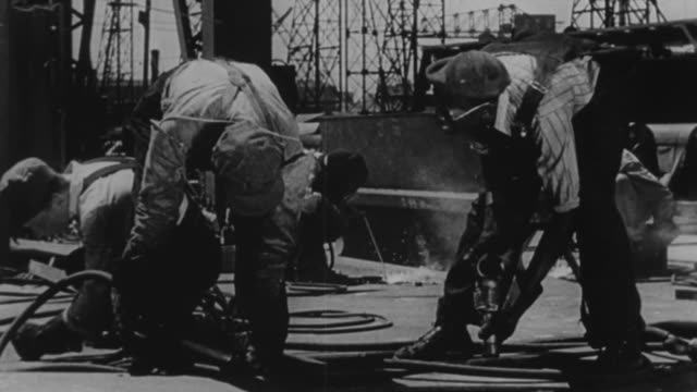 ms view of construction workers working with steel / united states - new deal video stock e b–roll
