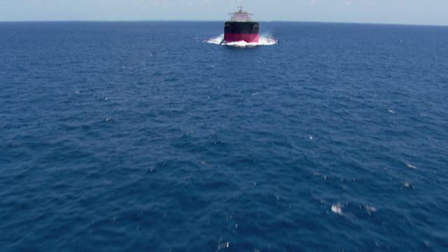 WS AERIAL TU View of container ship in ocean / Queensland, Australia