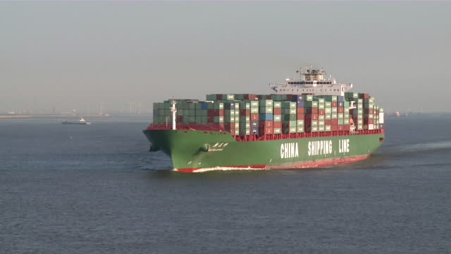 ws view of container ship on river elbe / stade, niedersachsen, germany  - river elbe stock videos & royalty-free footage