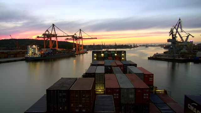 WS T/L POV View of container vessel leaving harbour of Gdynia, Poland / Hamburg, Germany