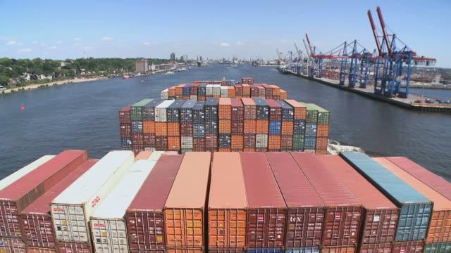 WS POV T/L View of container vessel near Hamburg / River Elbe, Hamburg, Germany
