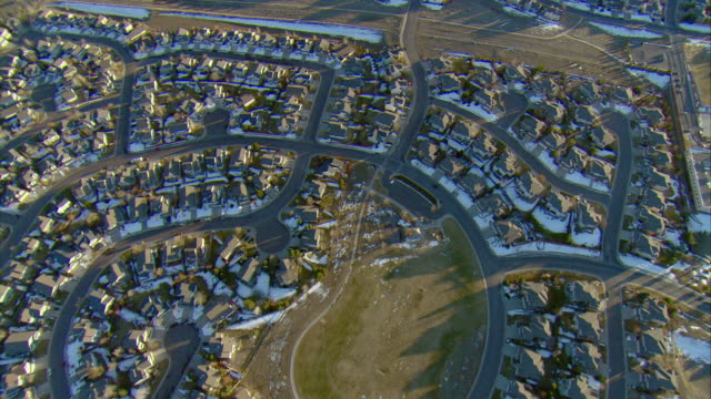 ws pov aerial view of cookie-cutter homes in denver suburbs / denver, colorado, usa  - geographical locations stock videos and b-roll footage