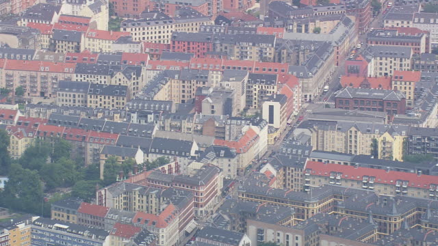 ws aerial zi view of copenhagen blocks of flats / copenhagen, denmark - copenhagen video stock e b–roll