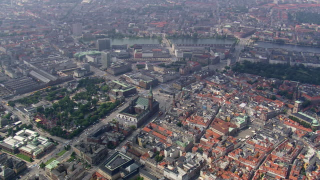 WS AERIAL View of Copenhagen center / Copenhagen, Denmark