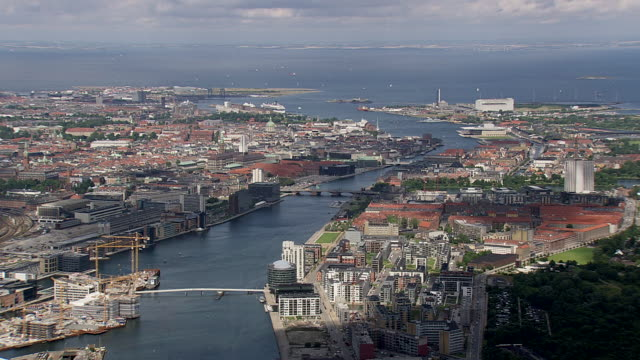 ws aerial pan aerial view of copenhagen center / copenhagen, denmark - copenhagen video stock e b–roll