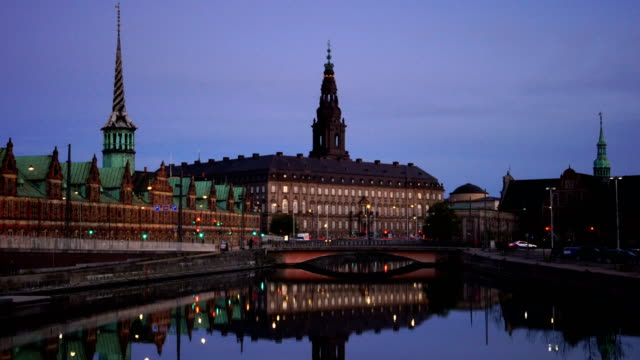 view of copenhagen, denmark at twilight - copenhagen video stock e b–roll