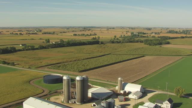 vidéos et rushes de ws aerial pov view of corn field with farmhouse / stephenson county, freeport, illinois, united states - silo