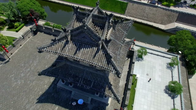 AERIAL View of corner tower of city wall/ Xi'an, Shaanxi, China