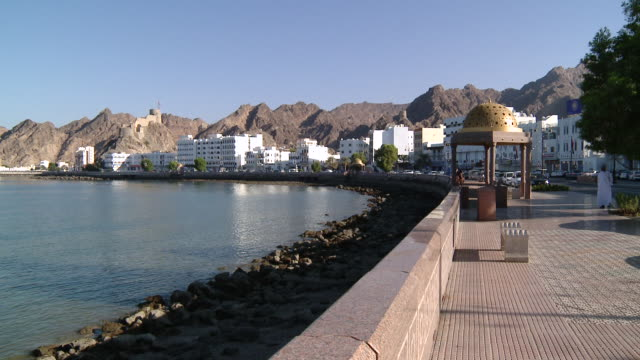 WS PAN view of Corniche in city , Muscat, Oman