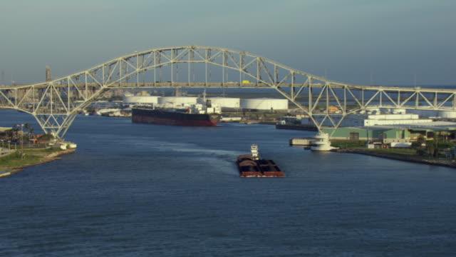 view of corpus christi harbor bridge - corpus christi texas stock videos & royalty-free footage