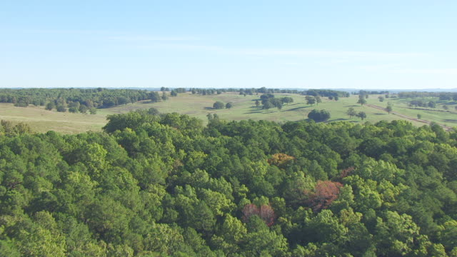 vídeos de stock e filmes b-roll de ws aerial view of country side / missouri, united states - missouri