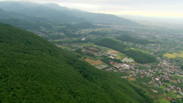 ws aerial view of countryside and urban areas / fukashima, tohoku, japan - 2010 stock videos & royalty-free footage