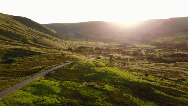 view of countryside in edale at sunset, peak district national park, derbyshire, england, united kingdom, europe - english culture stock videos & royalty-free footage