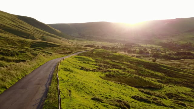 view of countryside in edale at sunset, peak district national park, derbyshire, england, united kingdom, europe - twilight stock videos & royalty-free footage