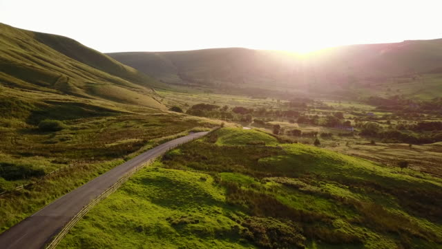 View of countryside in Edale at sunset, Peak District National Park, Derbyshire, England, United Kingdom, Europe
