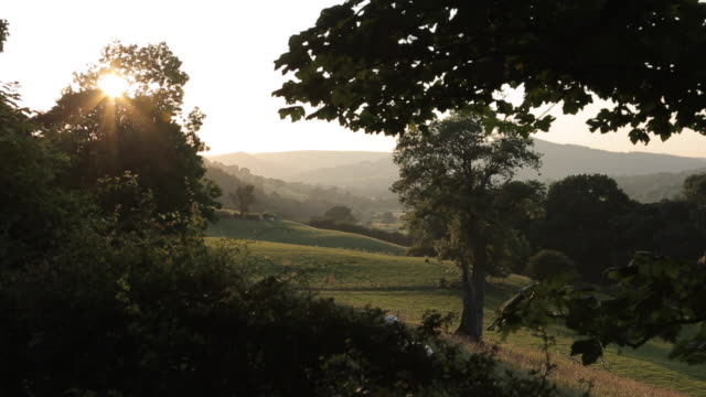 View of Countryside near Hathersage at sunset, Derbyshire, England, UK, Europe