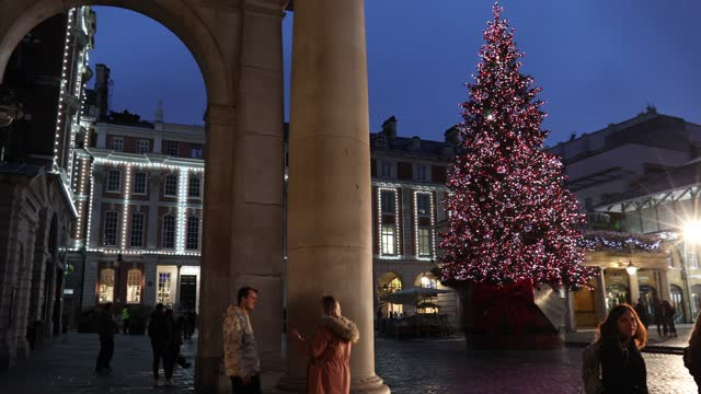 view of covent garden christmas tree and illuminations on november 10 in the piazza, covent garden, london, england. - small group of people stock videos & royalty-free footage