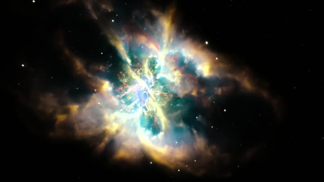 WS ZI View of Crab nebula, marvel of universe with containing colorful clouds, stars and other space phenomenons / Montreal, Quebec, Canada
