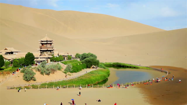 View of Crescent Moon Spring /Dunhuang, Gansu, China
