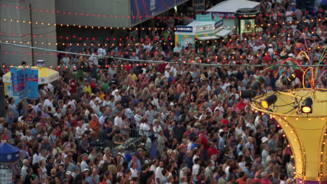 ws td pan view of crowd at city street music festival / montreal, quebec, canada - quebec stock videos and b-roll footage