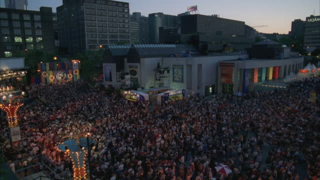 WS, View of crowd at city street music festival / Montreal, Quebec, Canada