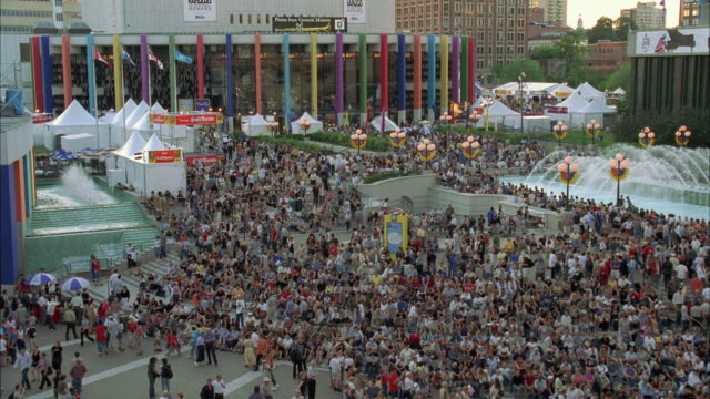 WS View of crowd at city street music festival / Quebec, Montreal, Canada