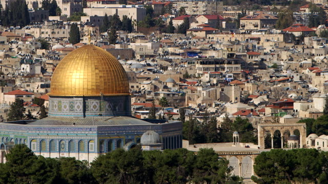 WS PAN View of crowded city with Dome of the Rock / Jerusalem, East Jerusalem, Israel