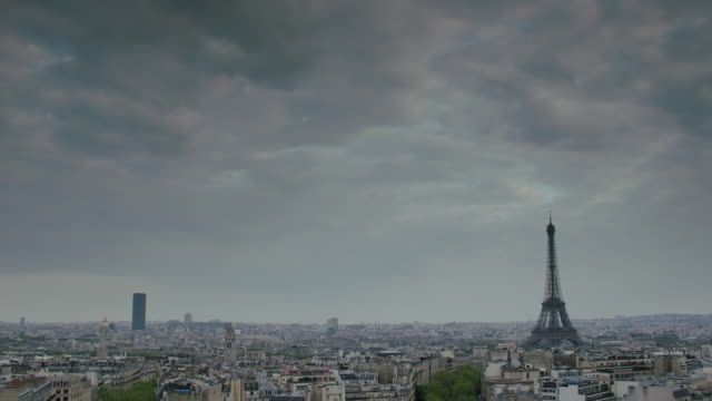 WS View of crowded cityscape and Eiffel Tower / Paris, France