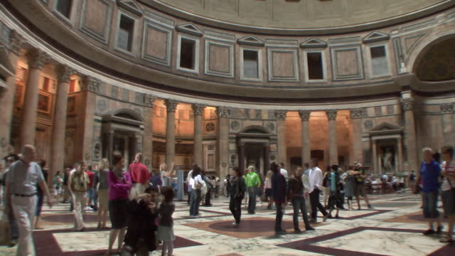 ws pan view of crowded floor in pantheon / rome, italy   - pantheon rome stock videos and b-roll footage