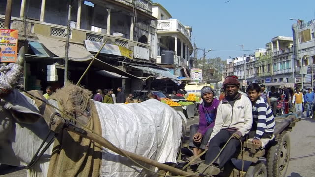 ws view of crowded streets of delhi with fruit peddlers / delhi, india - fahrradtaxi stock-videos und b-roll-filmmaterial