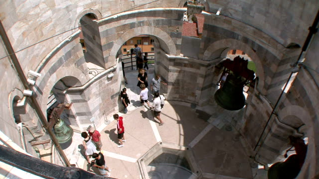 MS View of crowds in Cathedral Square from Leaning Tower / Pisa, Tuscany, Italy