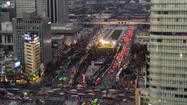 WS T/L View of Crowed at gwanghwamun square / Seoul, South Korea