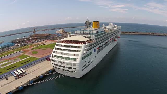 View of cruise ship at Jejuhang harbor