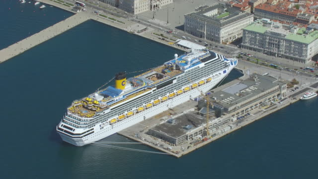 WS AERIAL View of cruise ship / Trieste, Triest