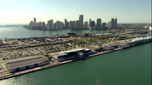 ws pov aerial view of cruise ships and skyline / miami, florida, usa - cruise ship stock videos & royalty-free footage