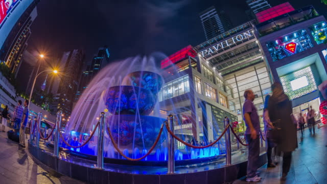 ms t/l view of crystal fountains outside pavilion shopping centre / kuala lumpur, malaysia - pavilion video stock e b–roll