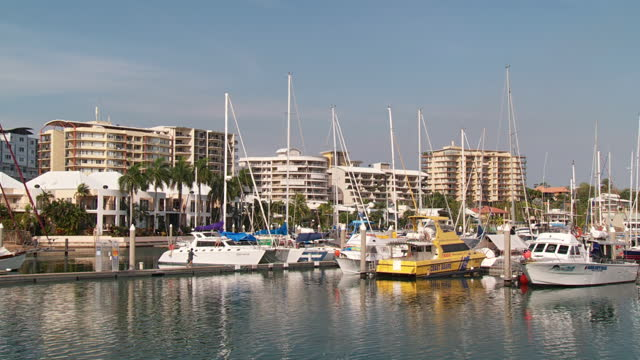 WS View of Cullen bay marina with building in background / Darwin, Northern Territory, Australia