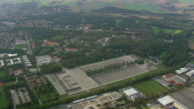 ws aerial ts view of dachau concentration camp / germany - konzentrationslager stock-videos und b-roll-filmmaterial