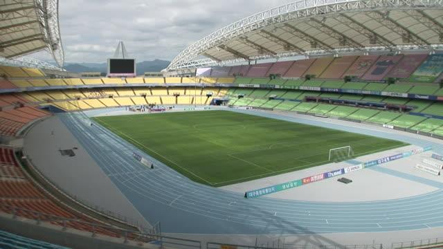 ws pan view of daegu stadium (sports complex) / daegu, south korea - daegu stock videos and b-roll footage